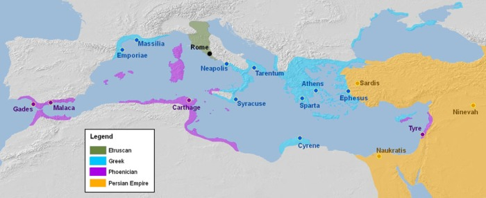 Overview Map of the Entire Mediterranean Circa 500 BC